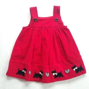 Vintage • girl 24 mo red Scottie dog jumper